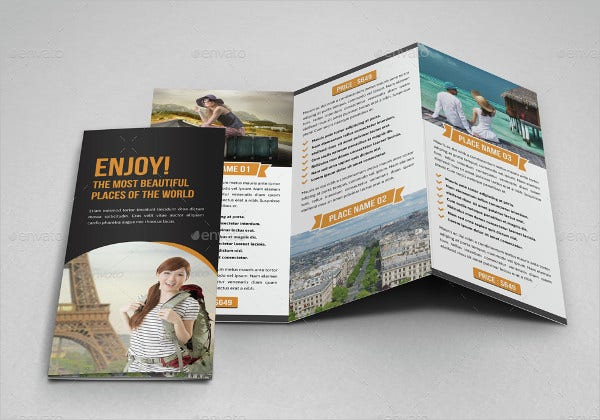 travel trifold brochure indesign template