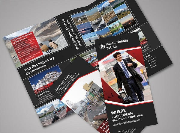 creative travel tri fold brochure