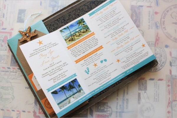 travel brochure wedding invitation