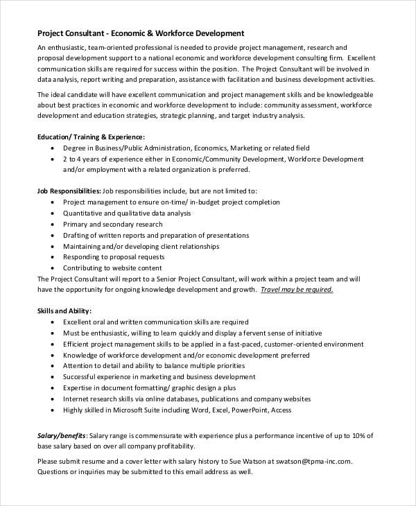 Consultant Job Description Templates   Free  Premium Templates