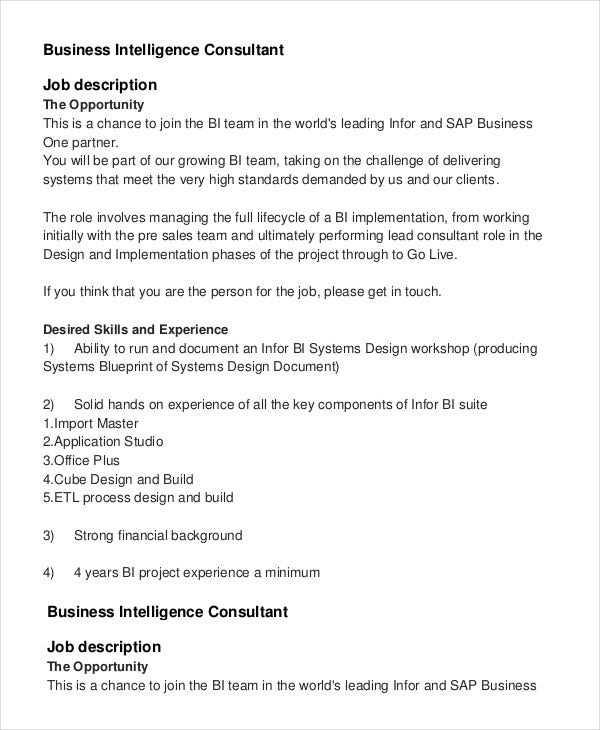 Business Intelligence Consultant Job Description