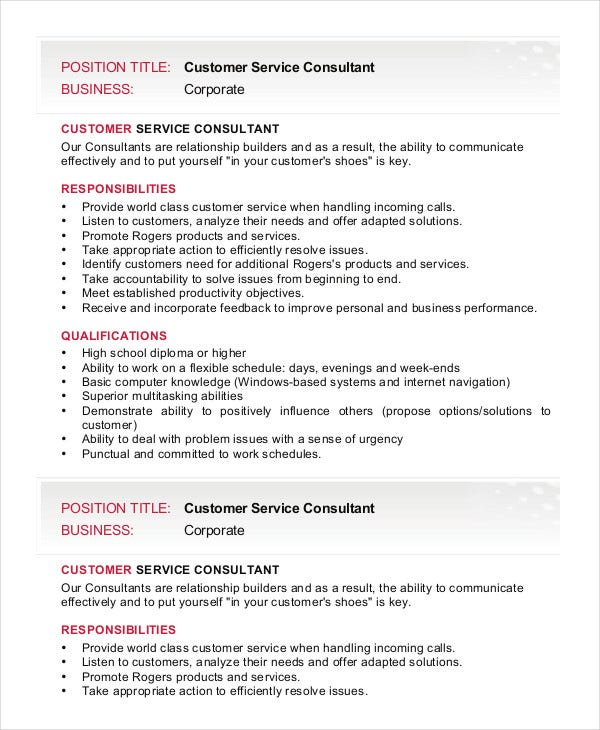 customer-service-consultant-job-description-template