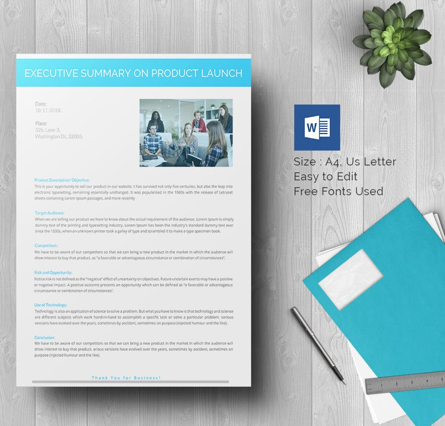 Product Launch Executive Summary Template