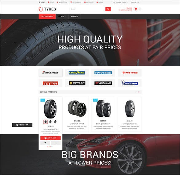 car wheels online store magento theme