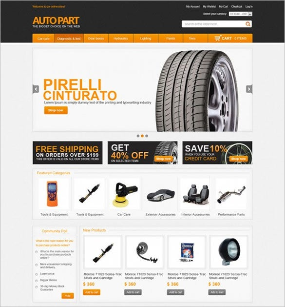 car parts store magento template