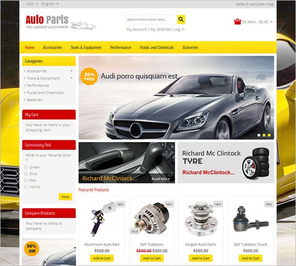 auto parts tools magento theme