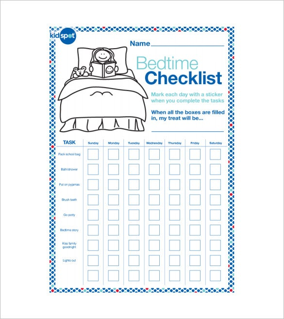 free bedtime reward chart sample pdf download