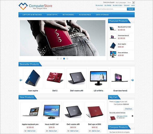 14 computer store magento themes templates free for Magento homepage template