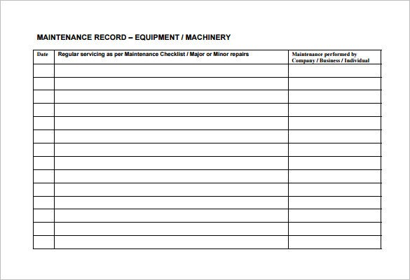 machine maintenance schedule template free download