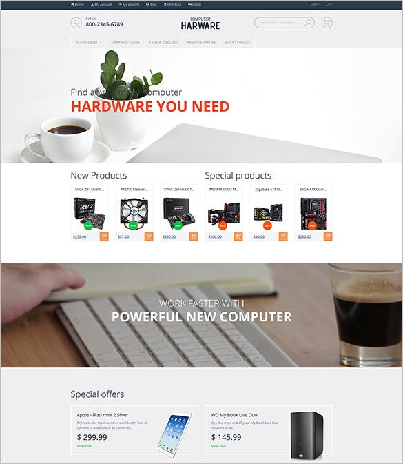 computer hardware magento template