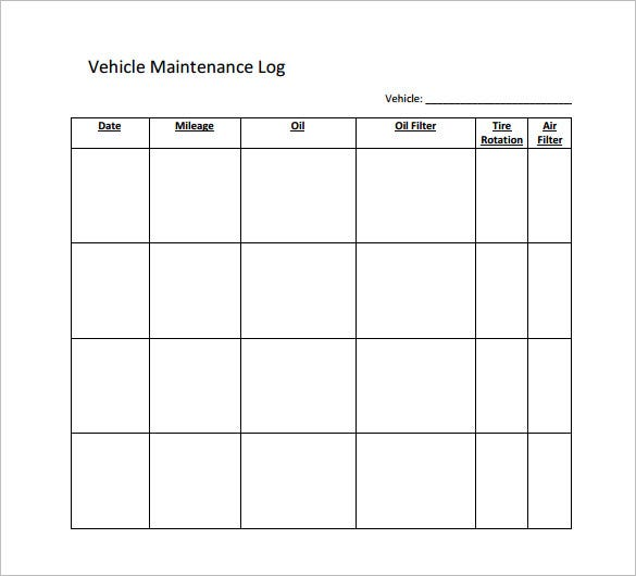 vehicle service log book download