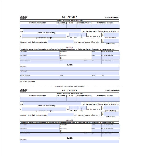 Vehicle bill of sale 10 free sample example format for Ca gov motor vehicles