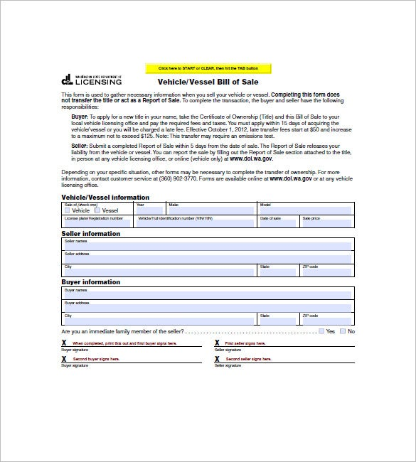 bill of sale washington Vehicle Bill of Sale – 10  Free Sample, Example, Format Download ...