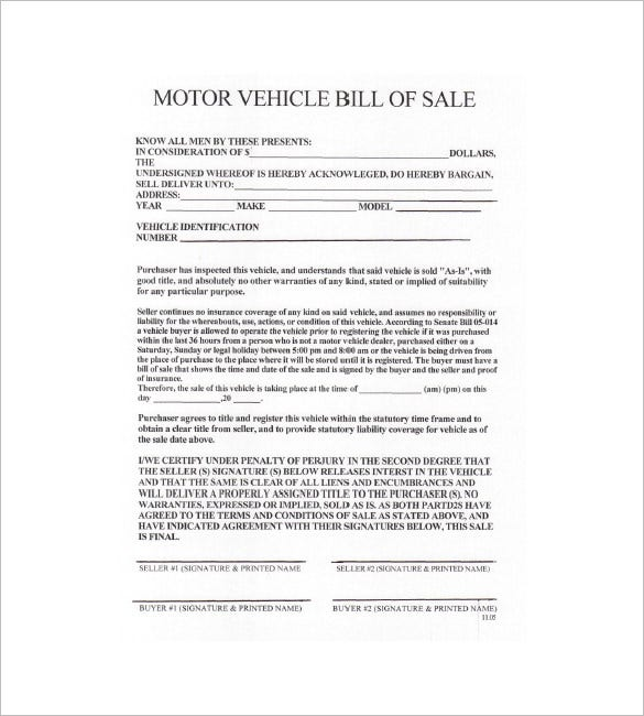 Vehicle Bill Of Sale   Free Word Excel Pdf Format Download