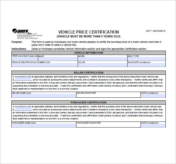 motor vehicle bill of sale form