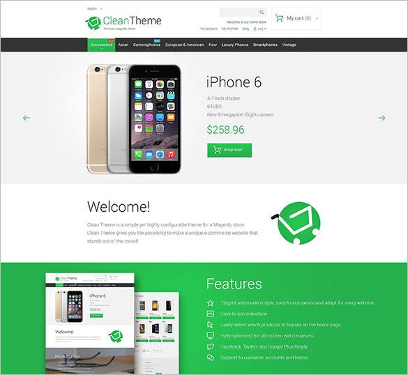 clean mobile store theme magento theme