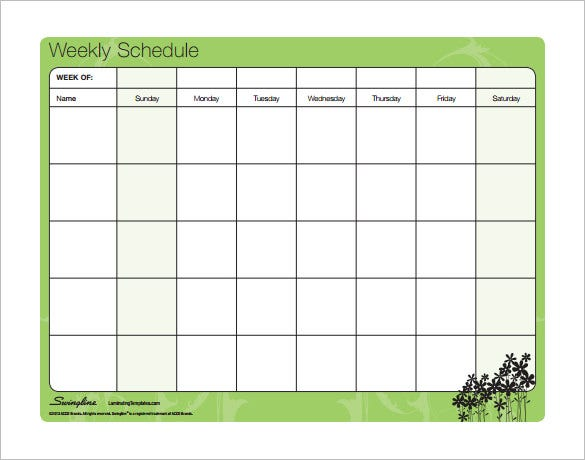 free download weekly family schedule template pdf format