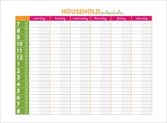 free house hold family schedule template calendar
