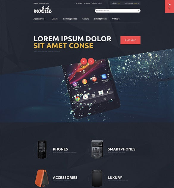 mobile phones store magento theme