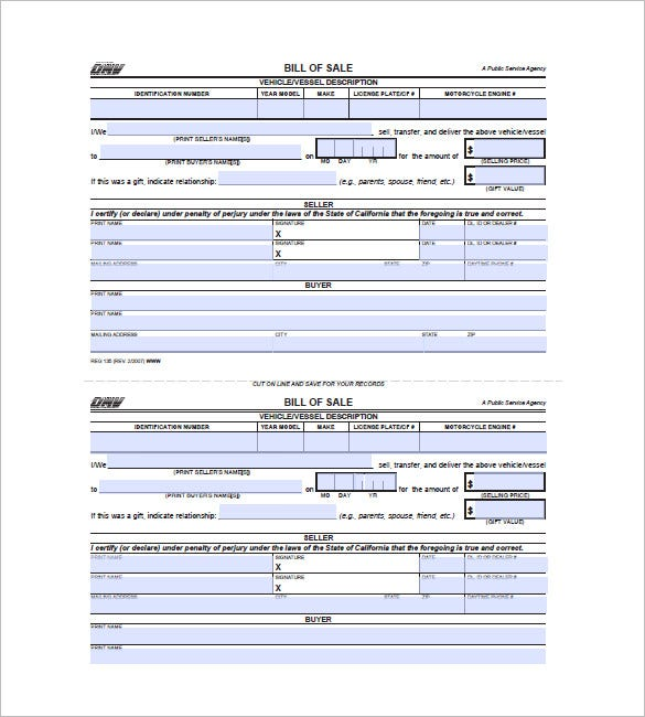dmv bill of sale form ca Car Bill of Sale – 10  Free Word, Excel, PDF Format Download | Free ...