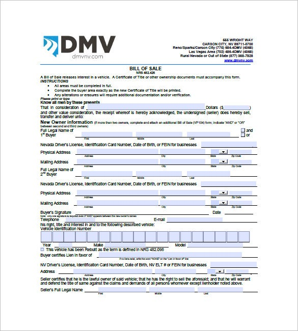 Car Bill Of Sale 10 Free Sample Example Format