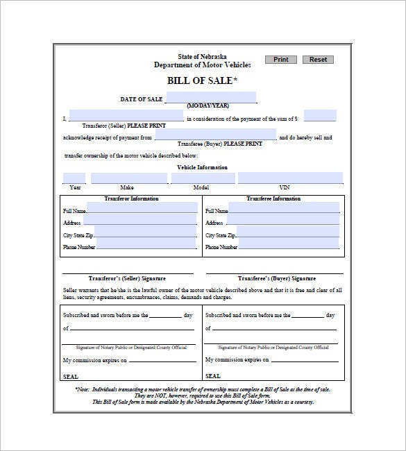 Car Bill Of Sale   Free Sample Example Format Download
