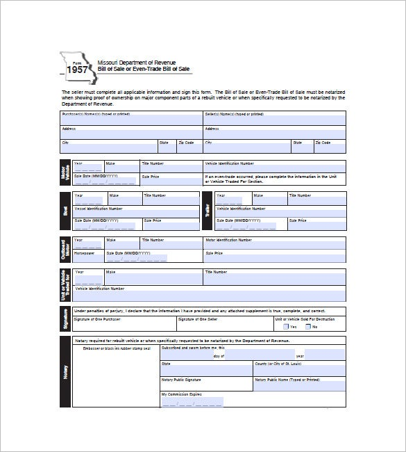 Car Bill of Sale – 10+ Free Word, Excel, PDF Format Download ...