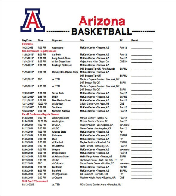 arizona basketball schedule template free pdf format