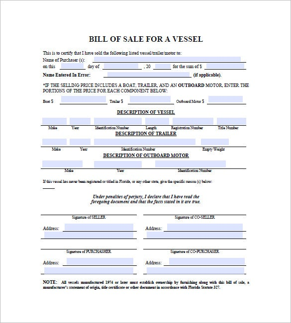 Boat Bill Of Sale   Free Word Excel Pdf Format Download  Free