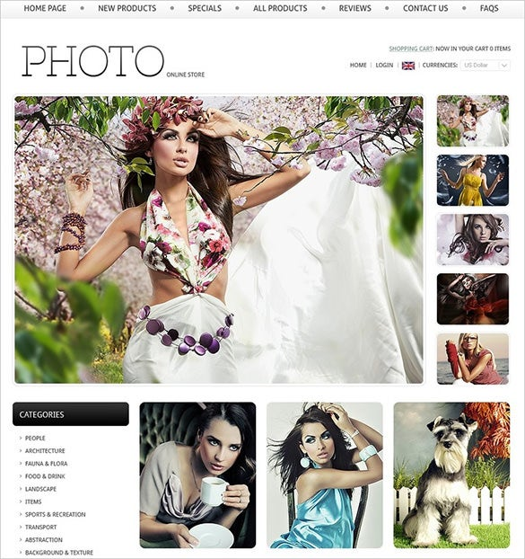 online photography zencart theme