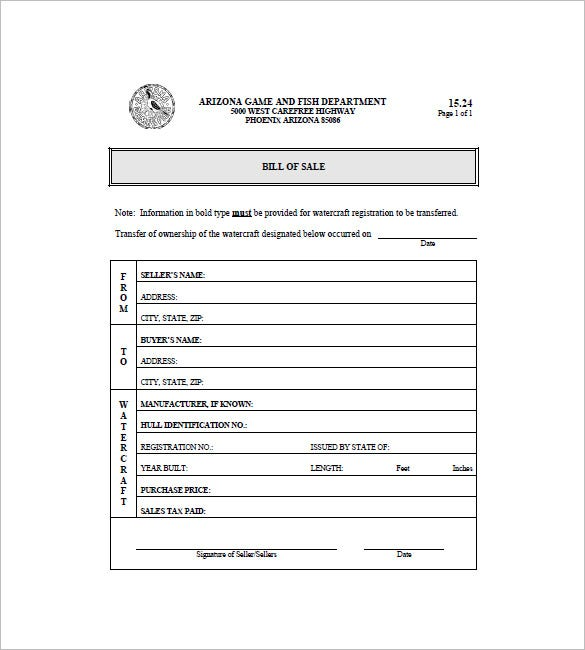 Printable Boat Bill Of Sale Template