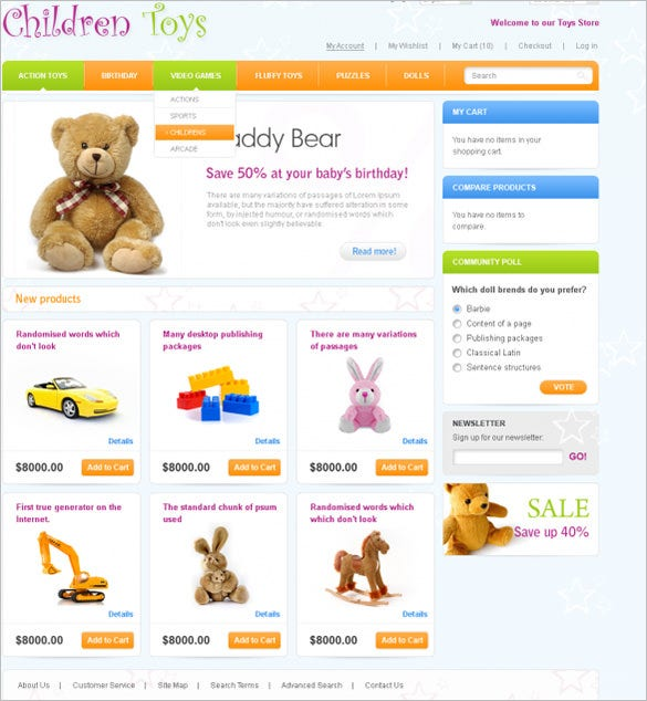 magento template for toys store