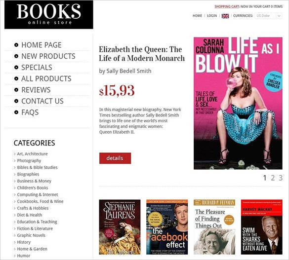 books magazine book store zencart template