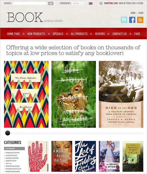 online book store zencart theme