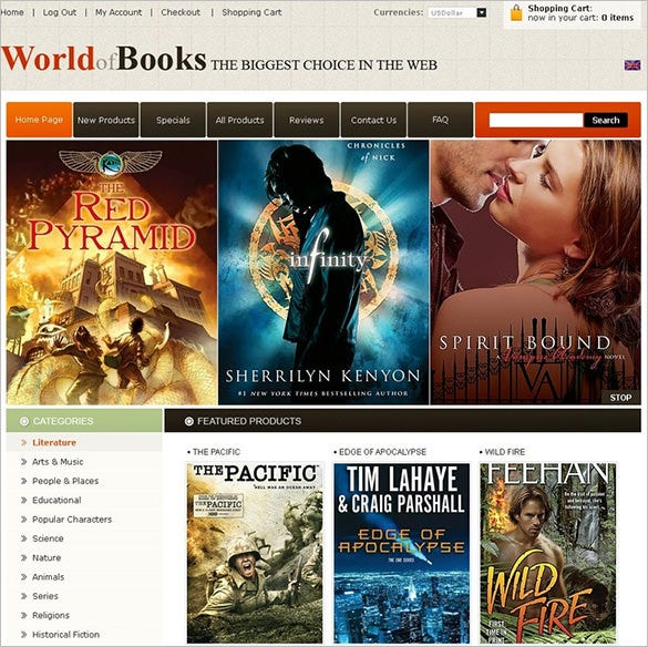 featured online book store zencart theme
