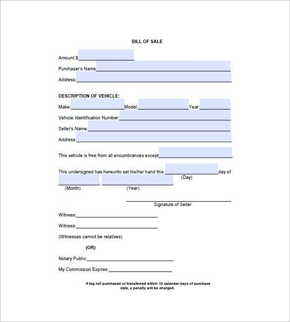 Automobile Bill Of Sale   Free Sample Example Format Download