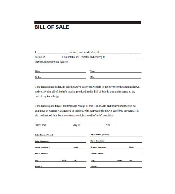 Sample Auto Bill Of Sale | 6 Automobile Bill Of Sale Free Sample Example Format Download