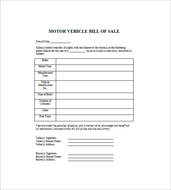 automobile bill of sale template free download