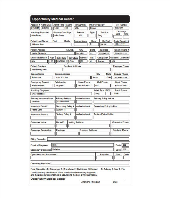 patients electronic medical record chart sample pdf