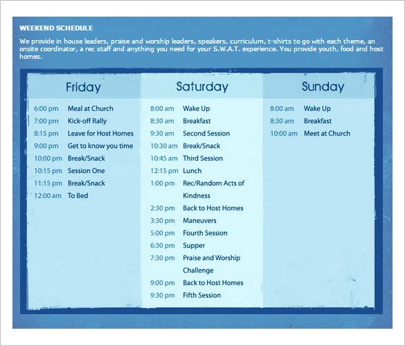 Weekend Schedule Template – 8+ Free Word, Excel, Pdf, Format