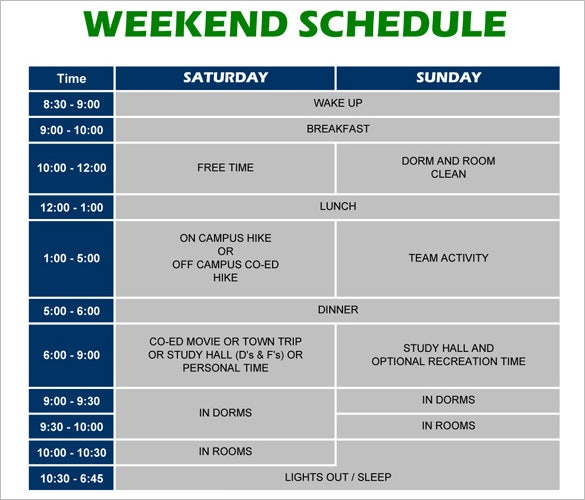 Weekend Schedule Template   Free Word Excel Pdf Format