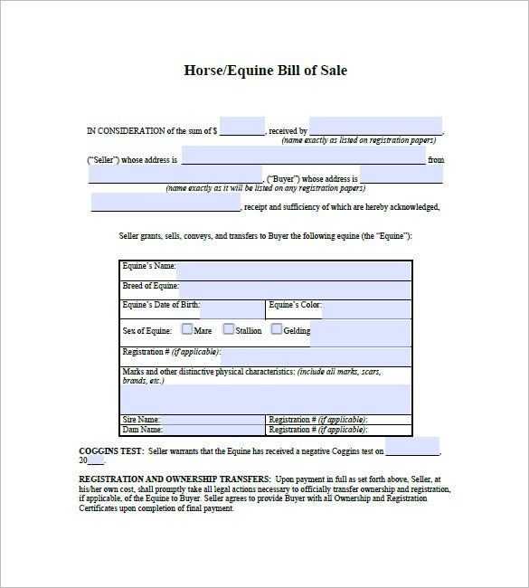 Bill Of Sale For Horse Purchase  Free Horse Bill Of Sale