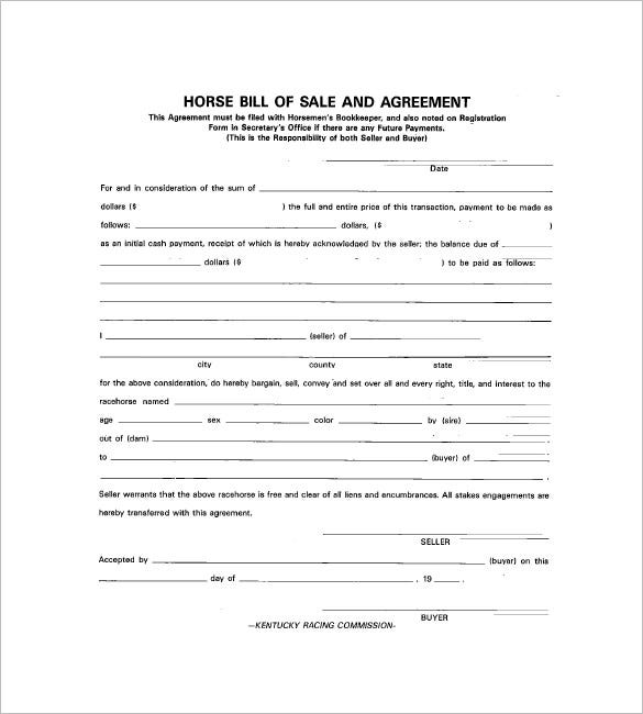 Horse Bill Of Sale – 8+ Free Sample, Example, Format Download