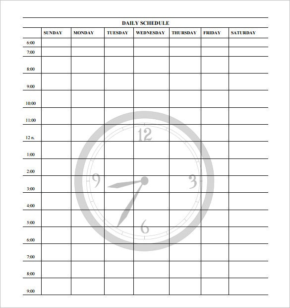 daily schedule template free pdf format download