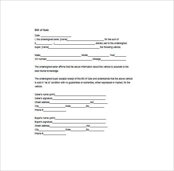 bill of sale form  u2013 10  free sample  example  format