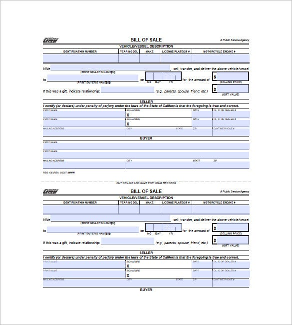Bill Of Sale Form   Free Word Excel Pdf Format Download  Free