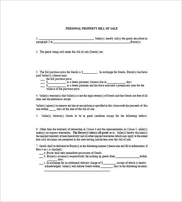 Bill Of Sale Form   Free Word Excel Pdf Format Download