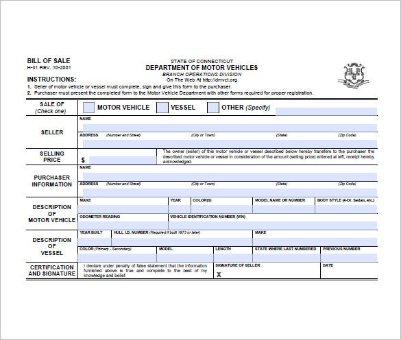 Bill Of Sale Form   Free Sample Example Format Download