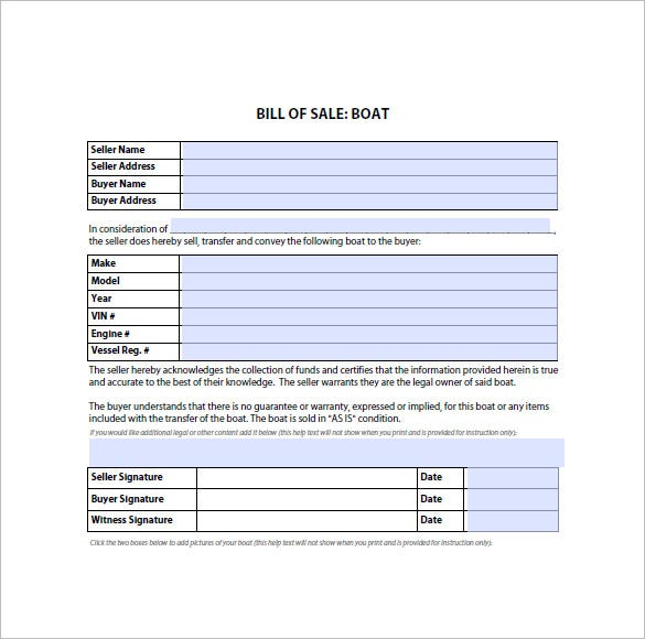 boat bill of sale form