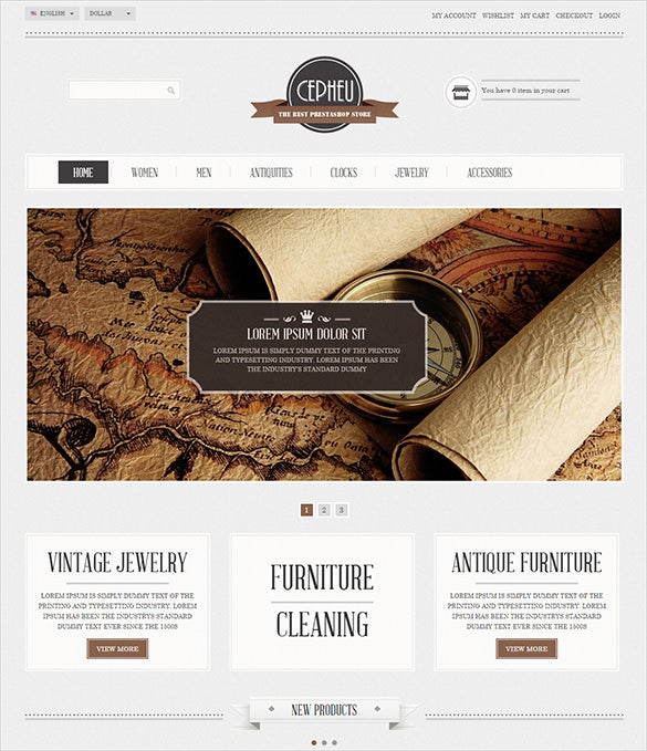 luxurious simple antique store prestashop template
